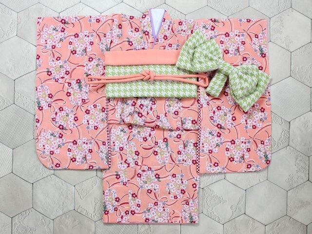 ◆七五三着物/さんご色に花くす玉/90-110【受注生産】の画像1枚目