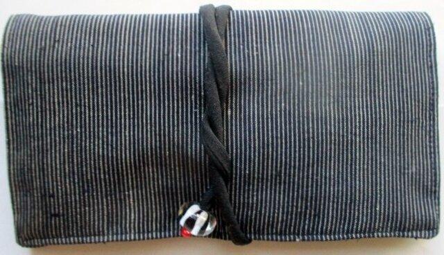 送料無料 めくら縞の着物で作った和風財布・ポーチ 2861の画像1枚目