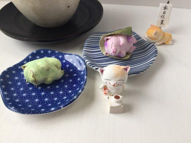 M様専用ウグイス餅でコーヒーで夏バテ猫さんトリオの画像1枚目