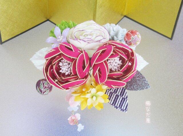 成人式 七五三 水引花髪飾り 和装 着物ヘアアクセサリー振袖 赤紫系 結婚式