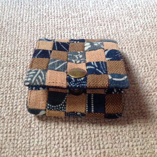 市松模様(酒袋と藍型染め)の小銭入れの画像1枚目