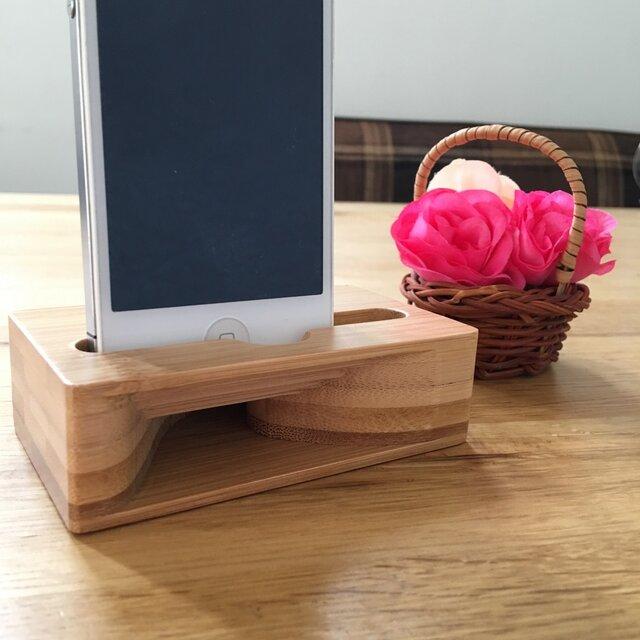 電源の要らない天然竹製 iPhone スマホ エコスピーカーの画像1枚目