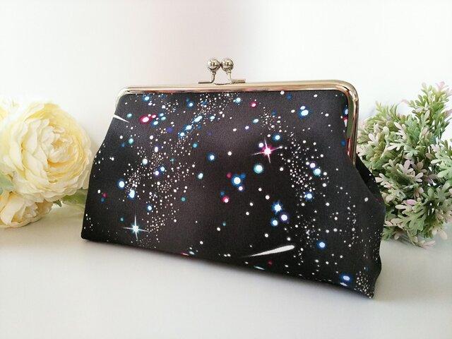 ◆【再販4】キラキラコスモのがま口ポーチ*宇宙*星*月*プレゼントや旅行にも◆の画像1枚目