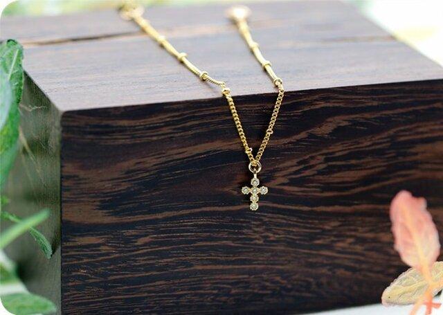 クロス 十字架 ボールチェーン ブレスレット 重ね付けにも!の画像1枚目