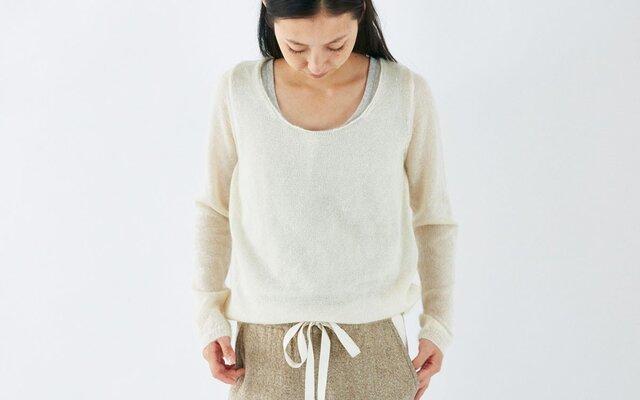 enrica mohair&silk knit / natural (offwhite)の画像1枚目