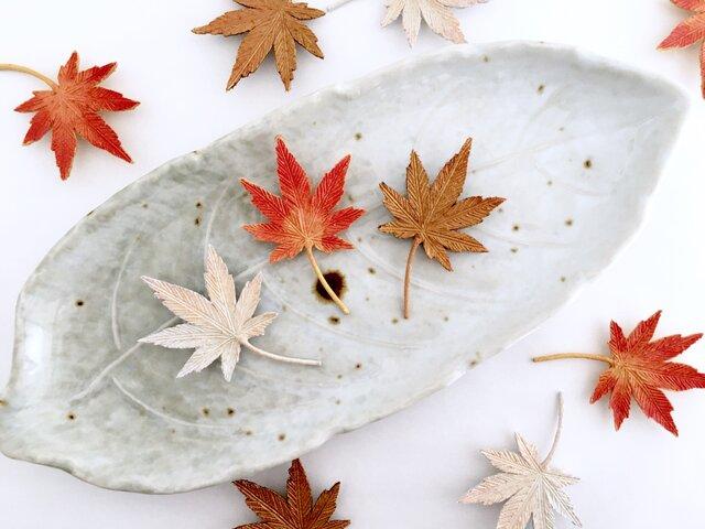 Brooch : 秋立つ紅葉ブローチ(黄紅葉/ブロンズ系) <秋限定作品>の画像1枚目