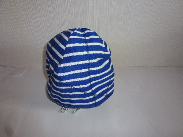 男女兼用リバーブルマリンボーダー天竺ステッチニット帽子 ブルー×白の画像1枚目
