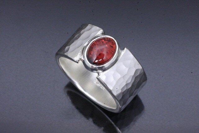 メンズ 指輪 : 丸鎚目リング ガーネット 10mm幅 14~28号の画像1枚目