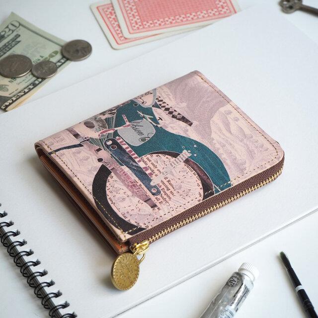 L字ファスナー 財布(レトロ バイク)オールレザー 革  メンズ レディース ILL-1157の画像1枚目