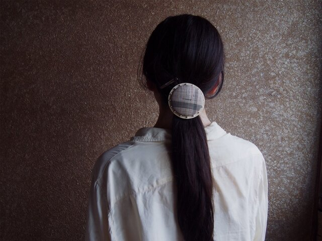 【L size】CIRCLE HAIR ELASTIC~kimono fabric × silver beads【 受注生産 】の画像1枚目
