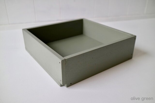 木箱 Plywood box 3 -オリーブグリーン-の画像1枚目