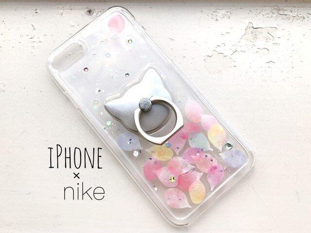 iPhoneX/iPhone8/7/6/6s〈花猫*花びら*カラフル〉スマホケース スマホリング付き iPhoneケースの画像1枚目