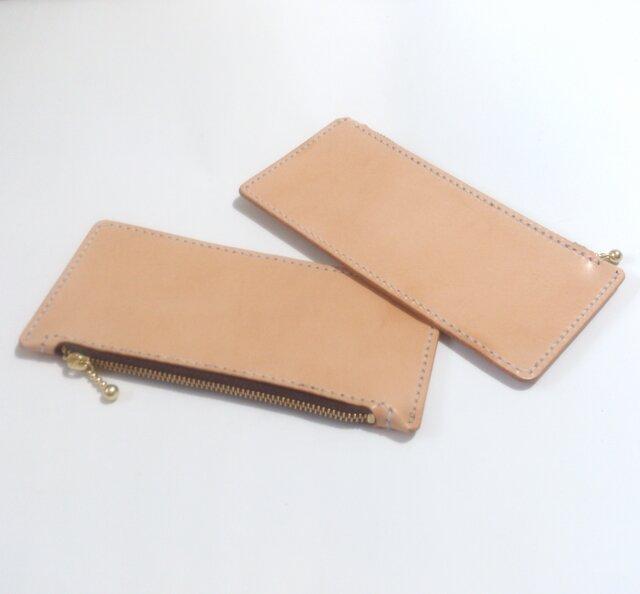 【手縫い】長財布用小銭入れ ロングウォレット用コインケース WC-001k ヌメ革 生成りの画像1枚目