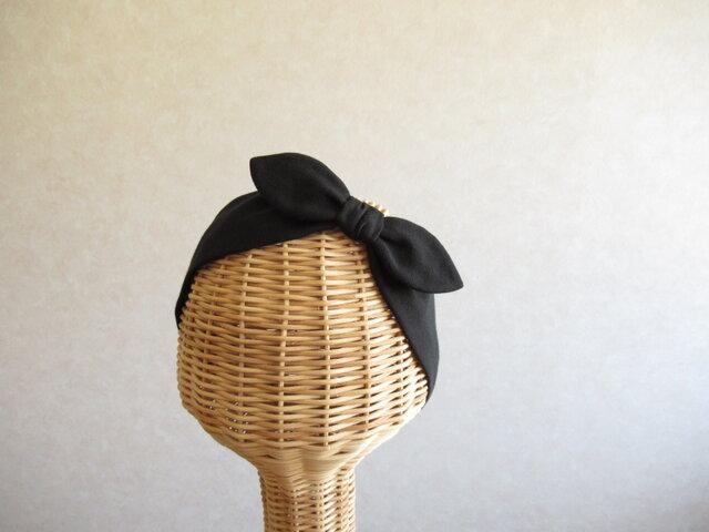 リボンのヘアバンド 黒のダブルガーゼの画像1枚目