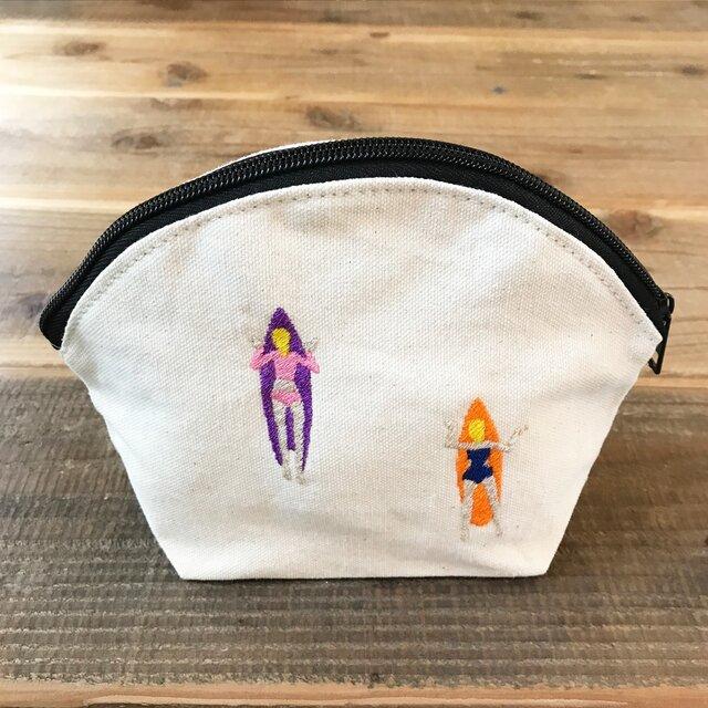 ゲティングアウトSURF 刺繍 キャンバスシェルポーチの画像1枚目