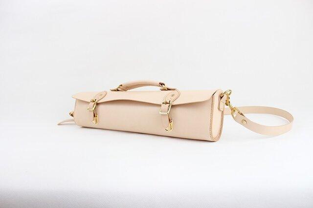 日本製 名入れ可能・本革手つくり手縫い フルートのケースバッグの画像1枚目