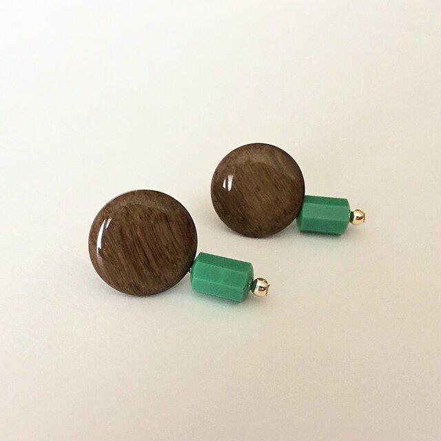 Wood-grain pattern brown button pierce_PIC084の画像1枚目