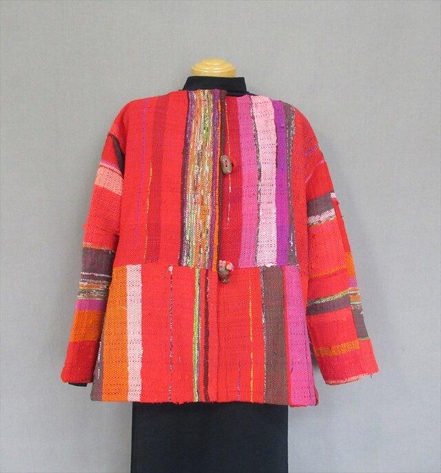 手織り裂き織 半コートの画像1枚目