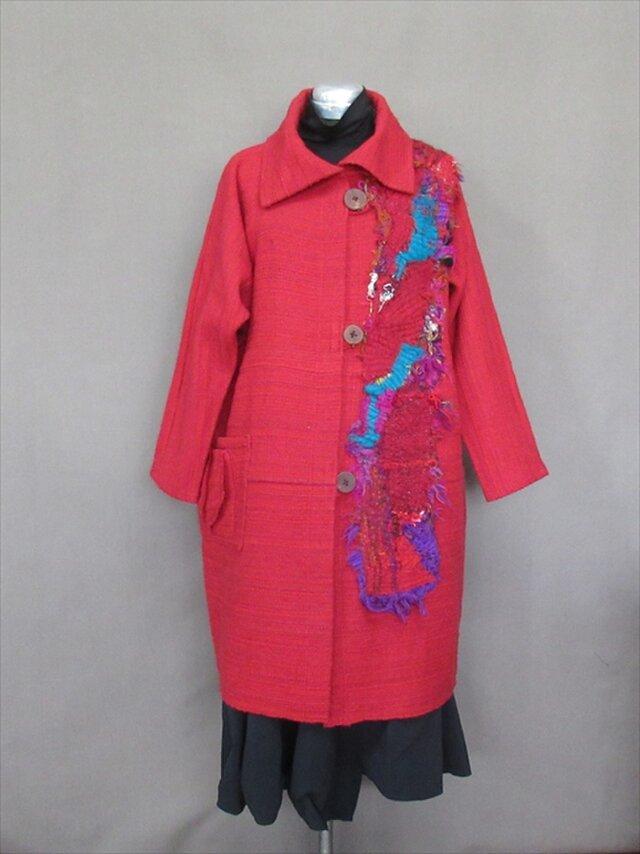 手織り 赤コートs18-170の画像1枚目