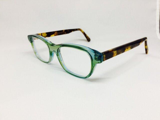 クリアグリーン&べっ甲カラーのカジュアルポップメガネ(メガネフレーム)の画像1枚目