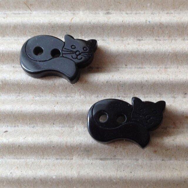 レジンボタン ブラックキャット 黒猫 2個B-0176の画像1枚目