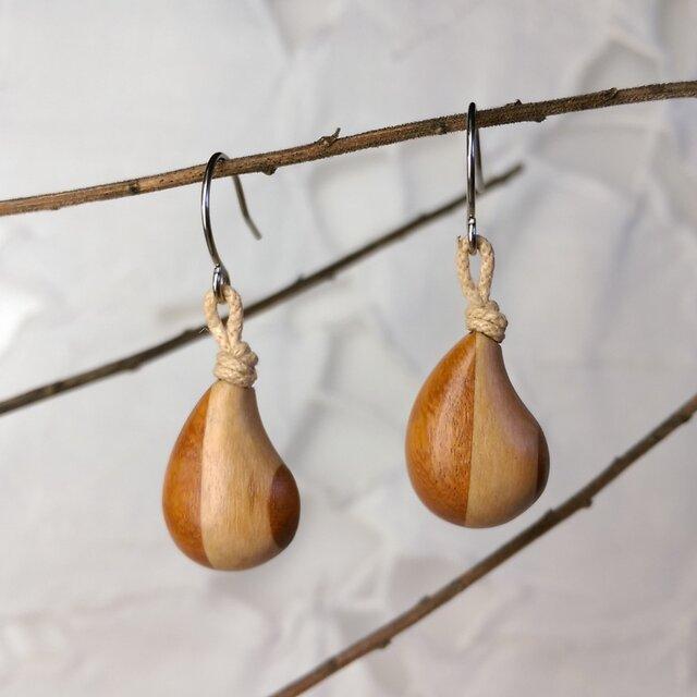「ちっちゃめしずく型」寄木のピアス・イヤリング4(送料込)の画像1枚目