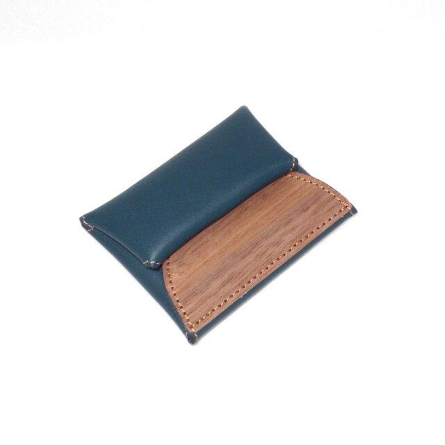 木と革のコインケース --- 手に納まるコンパクトサイズ [ブルー]の画像1枚目