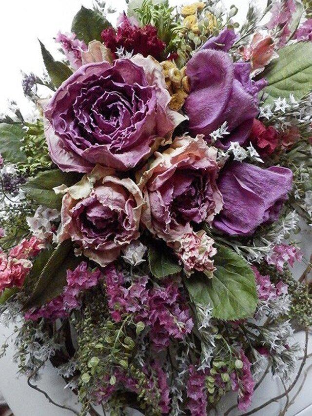 atelierBLUGRA八ヶ岳〜(新作)薔薇とアネモネのWreath03の画像1枚目