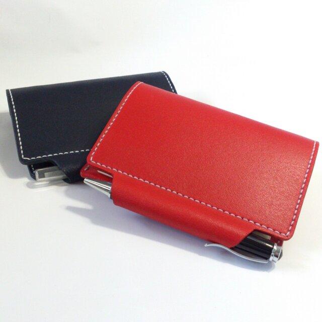 筒状ペンホルダーのシステム手帳 ミニ6穴 B7 パスポートケース ヌメ床革 レッド レザー 手帳 ノートの画像1枚目