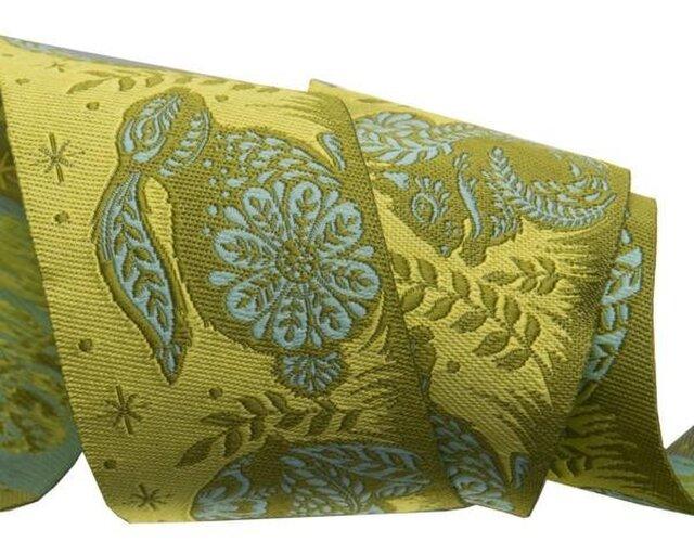 アメリカデザイン 刺繍リボン1ヤード-フォークロアアニマルグリーンの画像1枚目