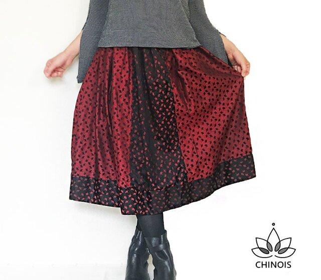 秋色イチョウの葉模様のミディ丈着物リメイクスカート、フリーサイズの画像1枚目