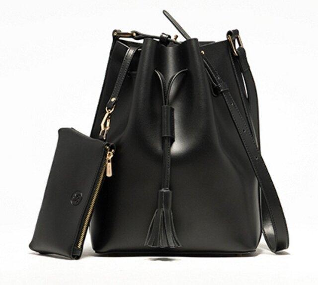 b74f9eba1c32 本牛革 レザー ショルダーバッグ Bucket Bag BLACK【受注製作】 | HARITA ...