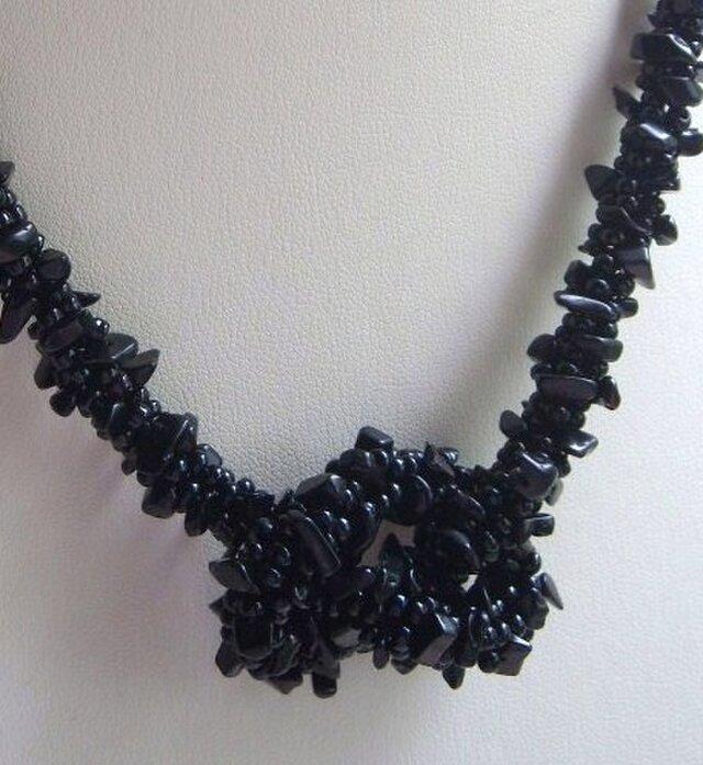 天然石☆さざれオニキスのネックレスの画像1枚目