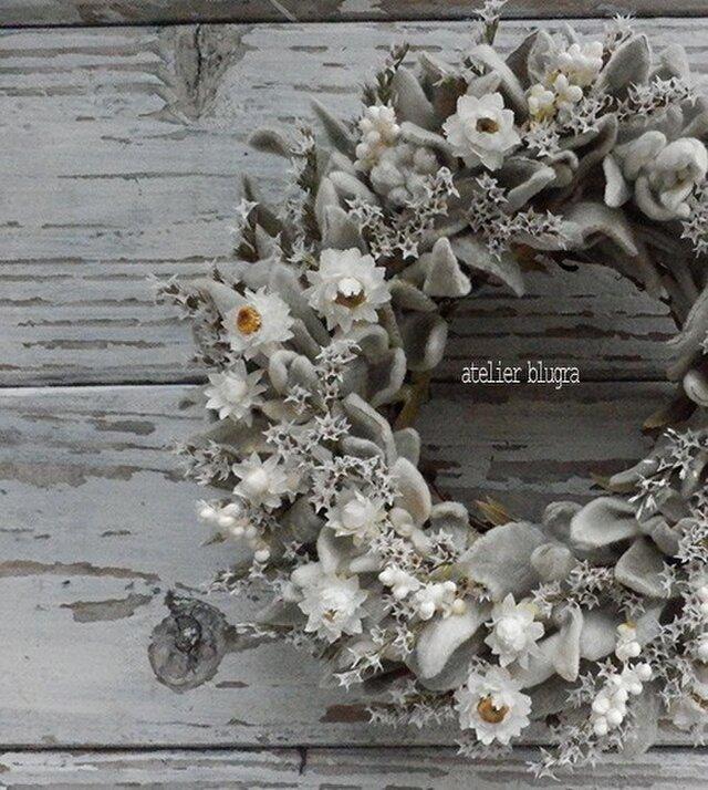 atelierBLUGRA八ヶ岳〜(新作)採れたてラムズイヤーのWreath02の画像1枚目