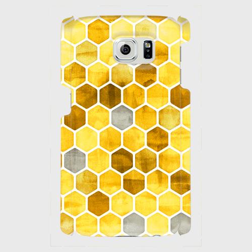 ハニカム ウォーターカラー (yellow)Xperia XZ Premium等 大サイズスマホ専用 ハードケースの画像1枚目