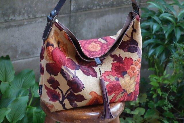ハ様ご依頼品:ワンハンドルのくったりバッグ(輸入生地:サンダーソン社製アマンプリ使用)の画像1枚目