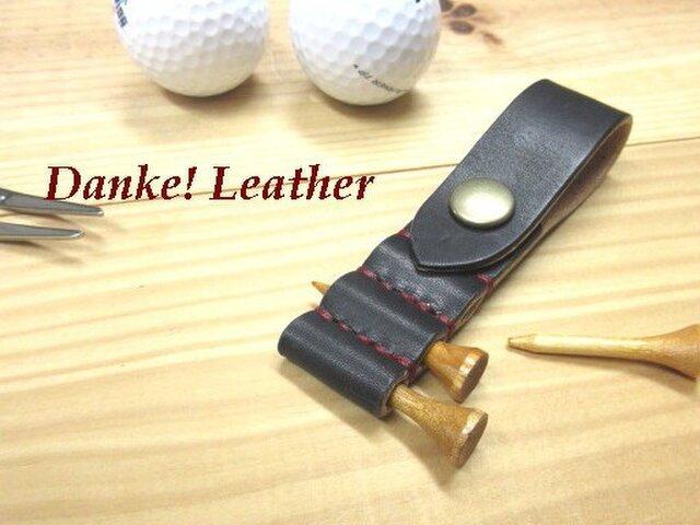 ゴルフティーホルダー(黒)ステッチカラー(糸色)と金具の選択可!の画像1枚目