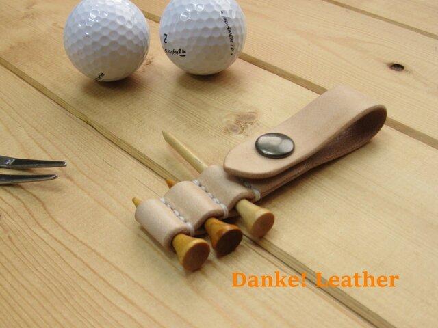 ゴルフティーホルダー・ステッチカラー(糸色)と金具の選択可!の画像1枚目