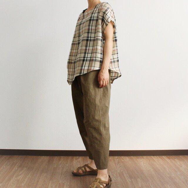 ゆったり素朴なひざ立体パンツ(ブラウン)の画像1枚目