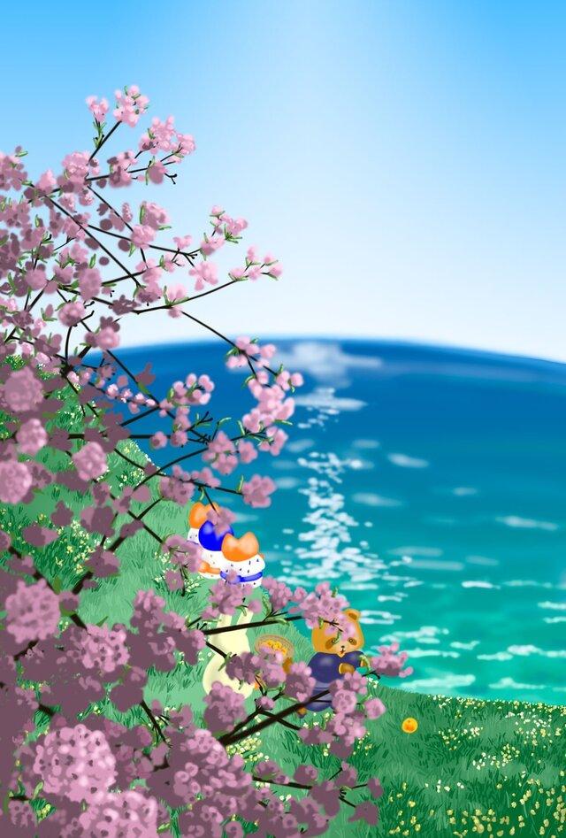 A4イラスト桜と海 Omiura ハンドメイド通販 Iichiいいち