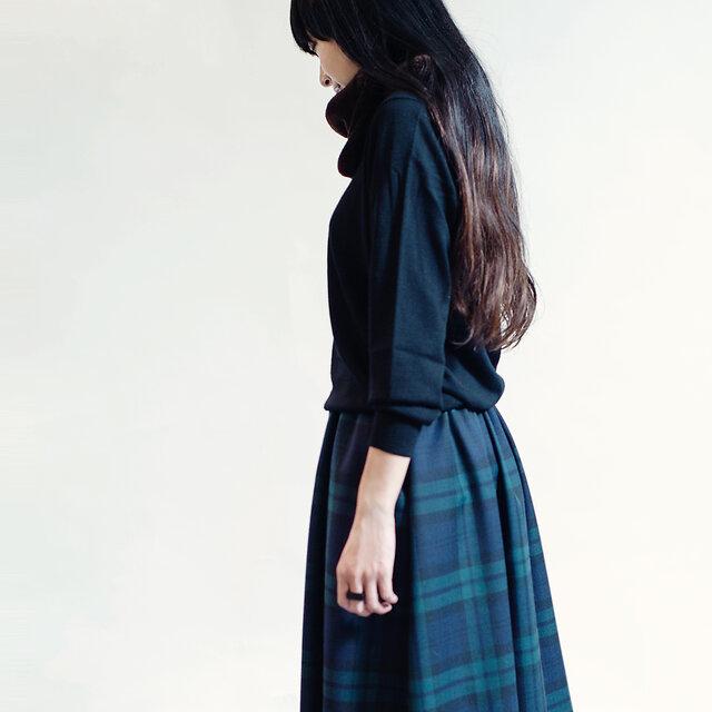 タータンチェック 紺×緑 3シーズン ポリウール ロングスカート ネイビー グリーン ●JULIA●の画像1枚目