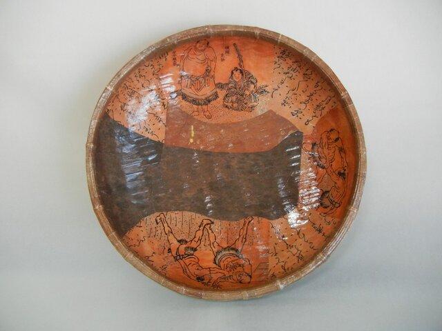 一閑張りアート 丸皿 大 (江戸の暮らしシリーズ和紙:相撲絵図)の画像1枚目