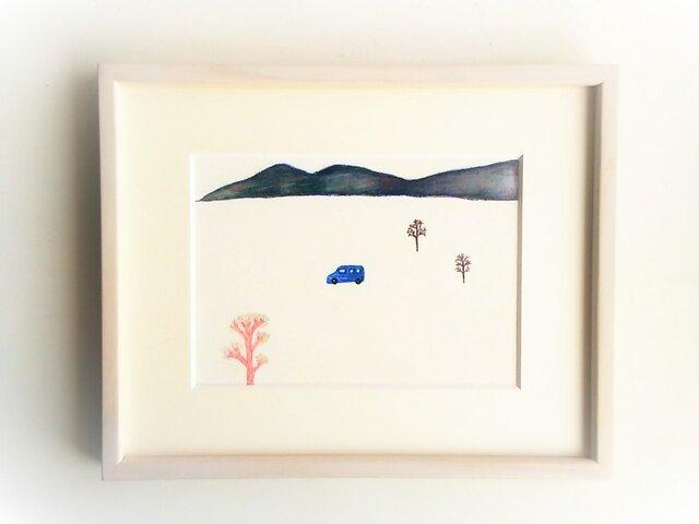 「青い車で」イラスト原画/額縁入りの画像1枚目