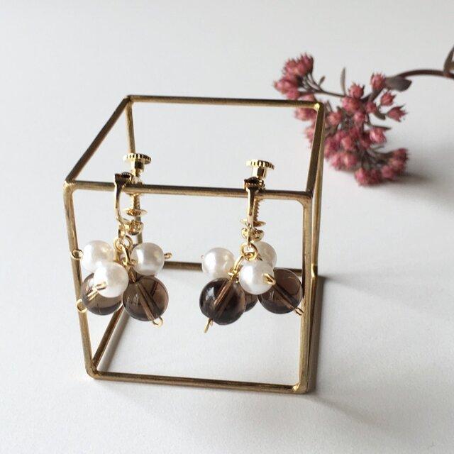 【守護石】 Smoky Quartz earringsの画像1枚目