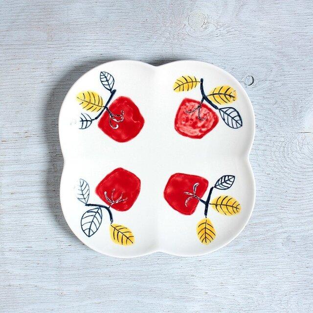 赤柿の花形プレート(磁器)(訳アリ)の画像1枚目