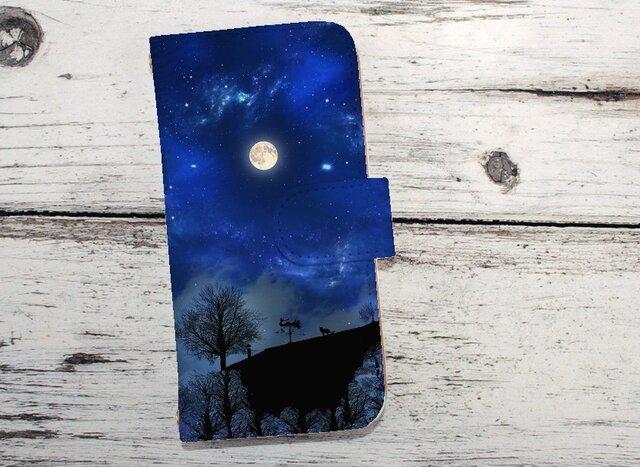 iphone ケース 全機種対応 手帳型 スマホケース iPhoneX iphone8 星空 星の下の丘の画像1枚目