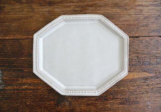 八角ドットリム皿(ライトグレー)の画像1枚目