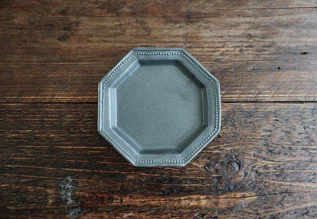 八角ドットリム小皿(黒マット)の画像1枚目