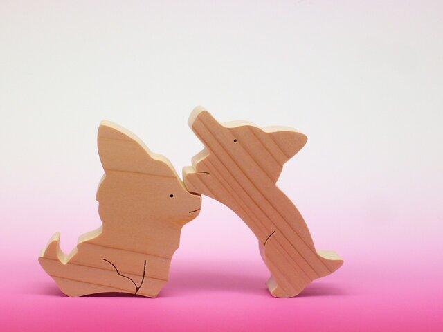 送料無料 木のおもちゃ 動物組み木 チワワとコーギーの画像1枚目