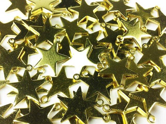 送料無料 スター チャーム ゴールド 13mm 50個 星 レジン パーツ 素材 アクセサリー デコ スター (AP0006)の画像1枚目